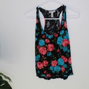 laced blue and pink flowered Tank Top